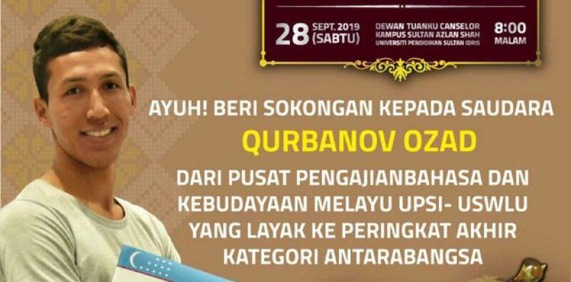 GRADUATE OF UZSWLU OZOD KURBONOV WON THE CONTEST OF MALAY LANGUAGE AMONG NATIONS