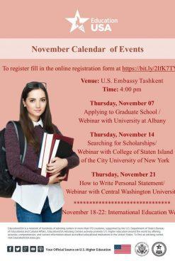 US EMBASSY IN TASHKENT ANNOUNCES CALENDAR OF EVENTS FOR NOVEMBER